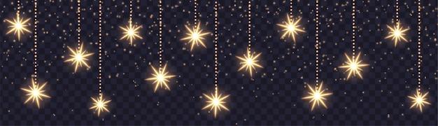 Banner horizontal de navidad con brillantes copos de nieve y destellos. estrellas colgantes aisladas. efecto de luz vectorial.