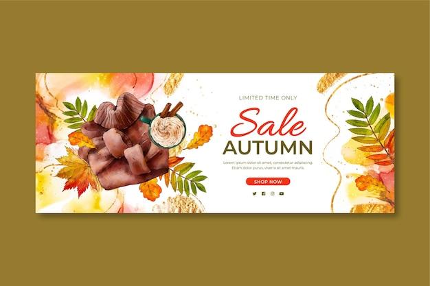 Banner horizontal otoño acuarela