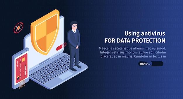 Banner horizontal de pirata informático isométrico con imagen de seguridad informática y botón deslizante para obtener más información