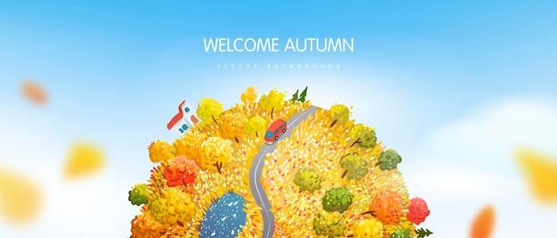 Banner horizontal con planeta tierra otoño