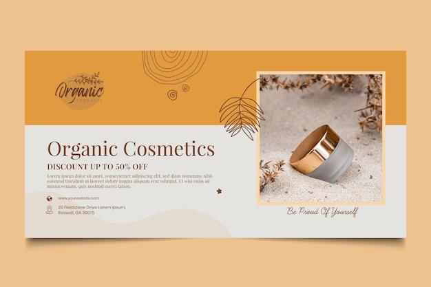 Banner horizontal de productos cosméticos.