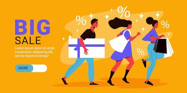 Banner horizontal de promoción de gran venta con tres personajes con bolsa y caja de compras