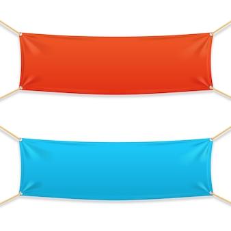 Banner horizontal rectangular de tela con cuerdas.