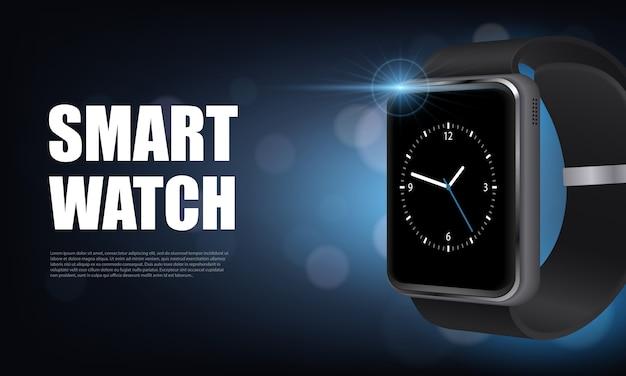Banner horizontal de reloj inteligente realista de estilo oscuro con para publicidad en la ilustración de vector de sitio