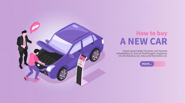 Banner horizontal de la sala de exposición de automóviles isométrica con el gerente de la tienda de automóviles y los personajes compradores con la ilustración del coche y el texto