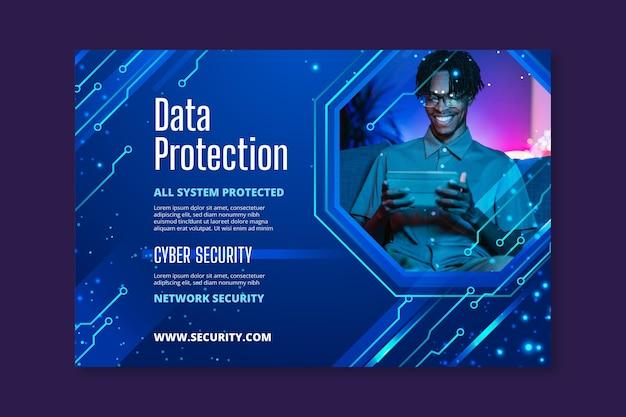 Banner horizontal de seguridad cibernética