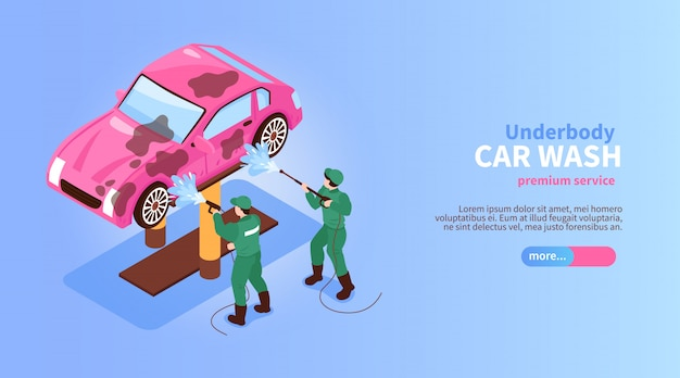 Banner horizontal de servicios de lavado de autos isométricos con caracteres de trabajadores rociando el botón deslizante del coche y la ilustración de vector de texto
