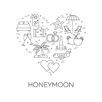 Banner horizontal con símbolos de luna de miel, pictogramas de viaje de boda en el corazón.