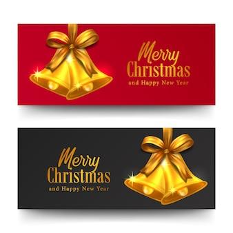Banner horizontal de tarjeta de felicitación de feliz navidad y feliz año nuevo