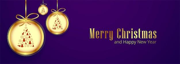 Banner horizontal con tarjeta de navidad