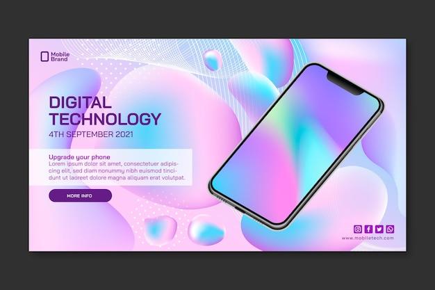 Banner horizontal de tecnología móvil