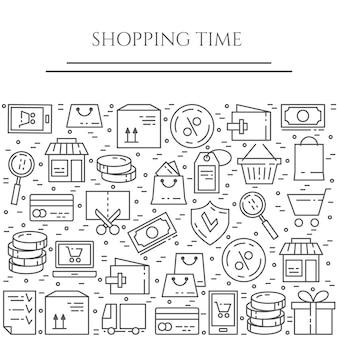 Banner horizontal de tema de compras