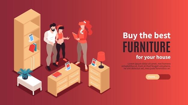 Banner horizontal de tienda de muebles con publicidad de los mejores ejemplos para la casa isométrica.