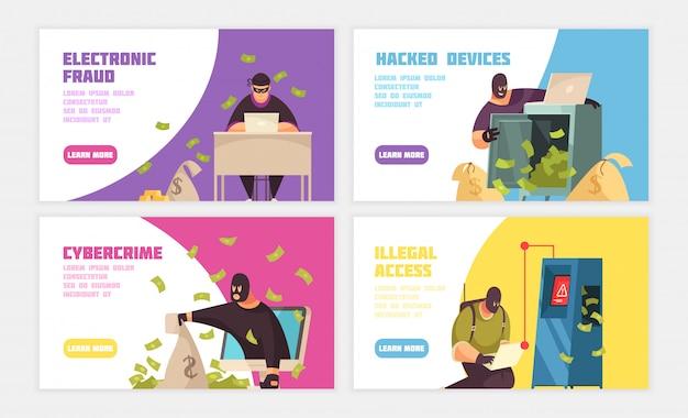 Banner horizontal de tres piratas informáticos con fraude electrónico hackeado dispositivo cibercrimen y titulares de acceso ilegal ilustración vectorial