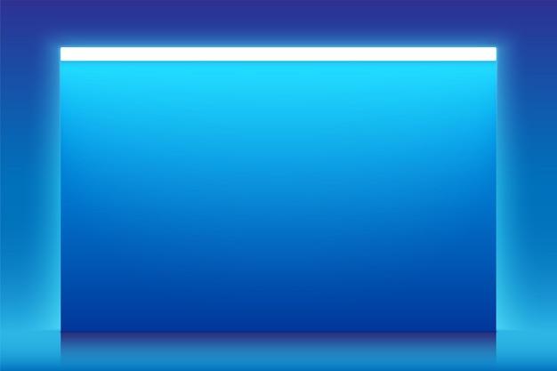 Banner horizontal vector azul con luz de neón