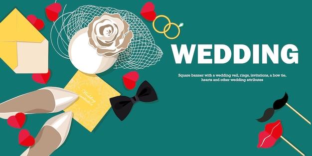 Banner horizontal con velo de novia, zapatos de novia, alianzas.