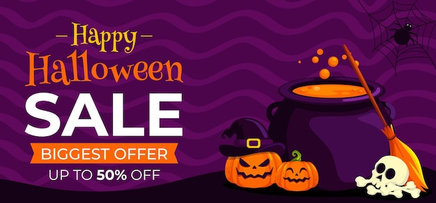 Banner horizontal de venta de halloween plano dibujado a mano