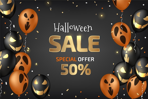 Banner horizontal de venta de halloween realista