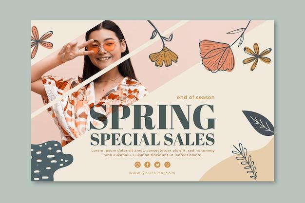 Banner horizontal para venta de moda de primavera.