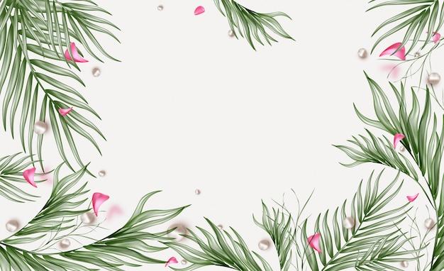 Banner horizontal de venta de primavera con hojas verdes, volando pétalos de rosa.