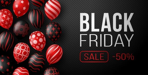 Banner horizontal de venta de viernes negro con globos brillantes de color rojo oscuro sobre fondo negro con lugar para el texto. ilustración.
