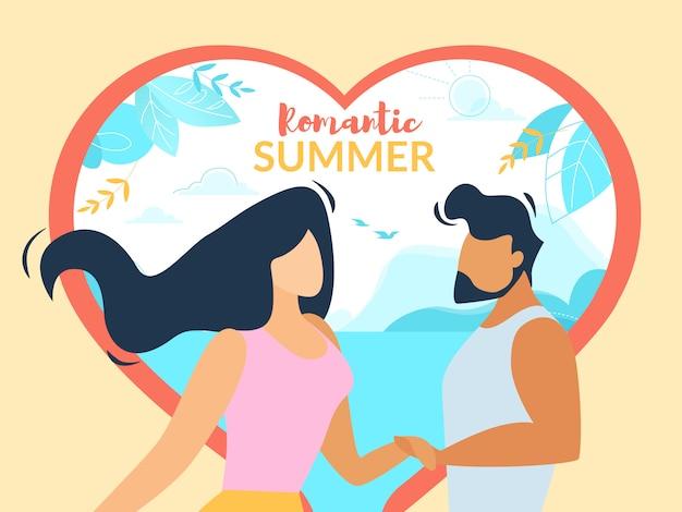 Banner horizontal de verano romántico, feliz pareja amorosa cogidos de la mano