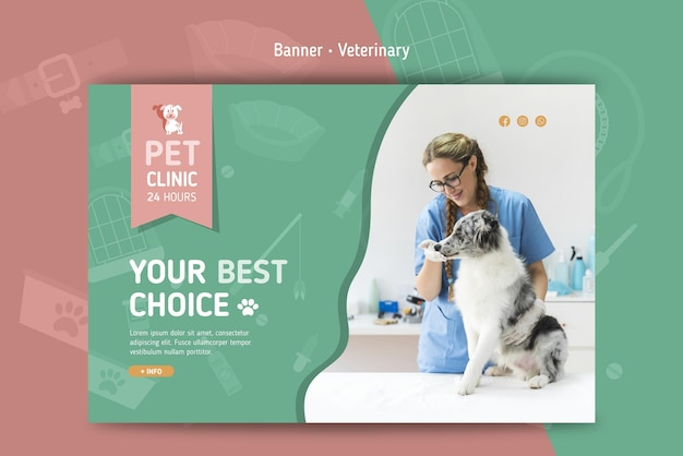 Banner horizontal para veterinaria.