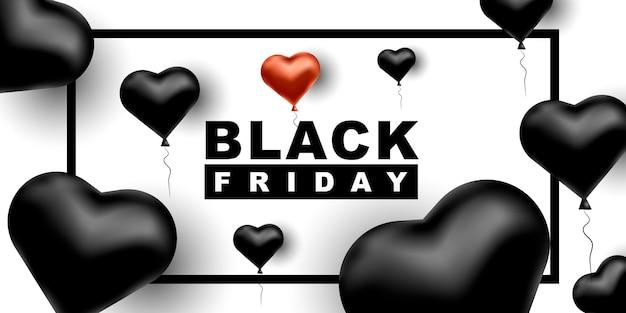 Banner horizontal de viernes negro con globos en forma de corazón