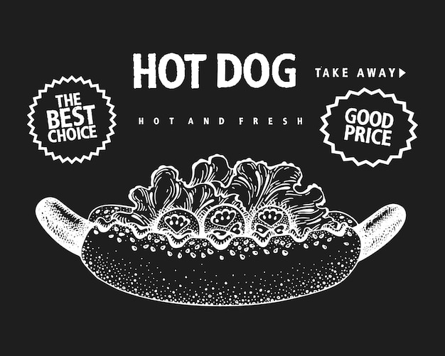Banner de hot dog dibujado a mano.