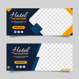 Banner de hotel plano con espacio transparente