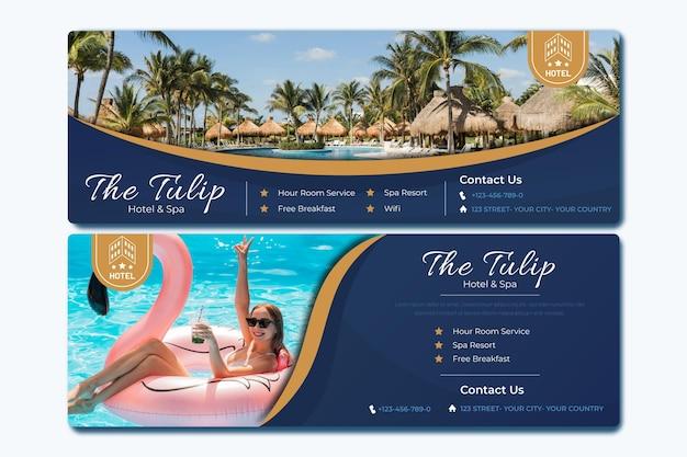 Banner de hotel plano con foto