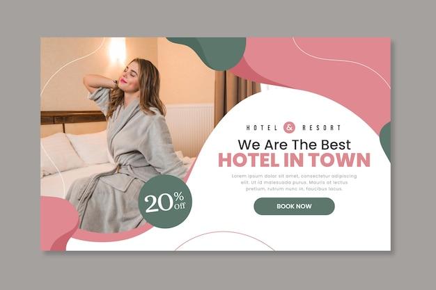 Banner de hotel plano orgánico con foto.