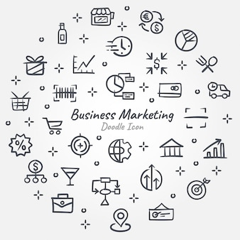 Banner de icono de doodle de marketing empresarial