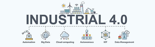Banner de icono de industria 4.0
