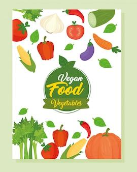 Banner con iconos de verduras, concepto de comida sana