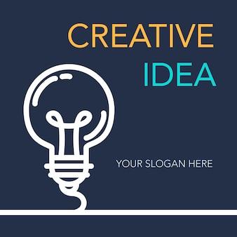 Banner de idea de éxito creativo simple.