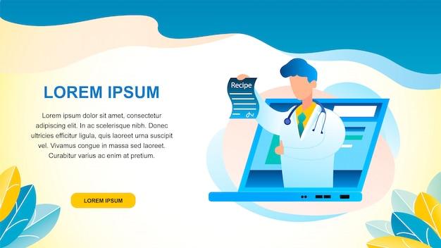 Banner ilustración consulta médica en línea