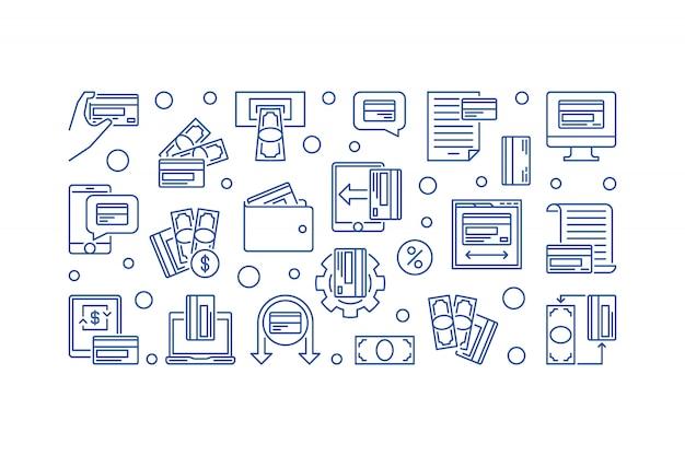 Banner de ilustración de esquema azul de tarjeta de pago