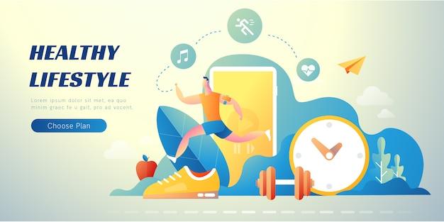Banner de ilustración de estilo de vida saludable