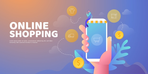 Banner de ilustración en línea de compras