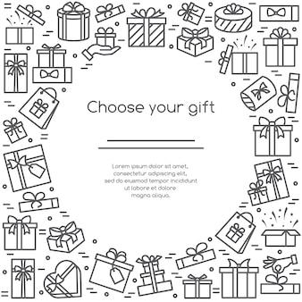 Banner de ilustración con pictogramas de cajas de regalo envuelto y decorado