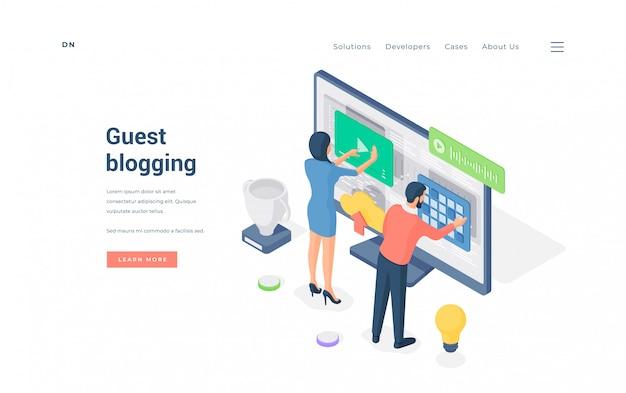 Banner de ilustración de sitio web de blogs invitados