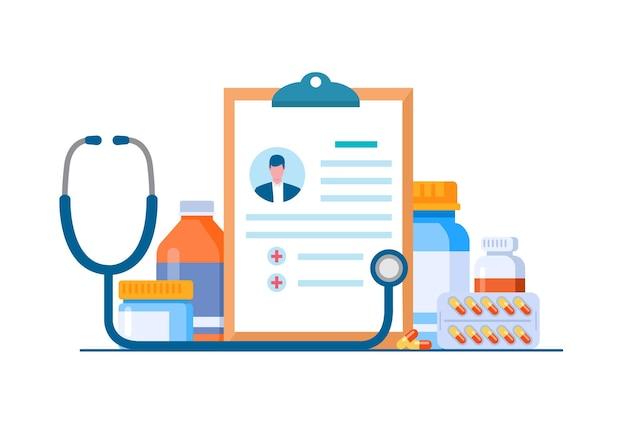 Banner de ilustración de vector plano de botiquín médico de farmacia