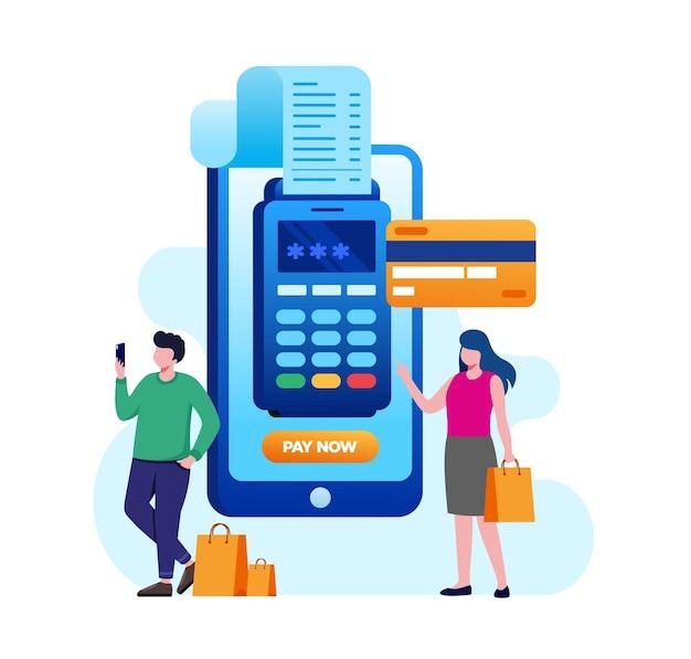 Banner de ilustración de vector plano de pago en línea de tarjeta de crédito