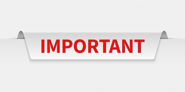 Banner importante. etiqueta de información con pestañas con aviso de precaución. etiqueta de importancia y atención