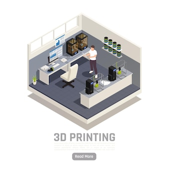 Banner de impresión 3d isométrica