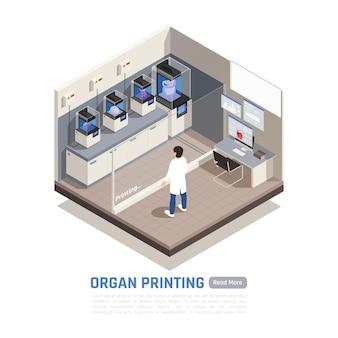 Banner de impresión de órganos isométricos