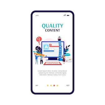 Banner de incorporación de la aplicación de redacción publicitaria y producción de contenido de calidad