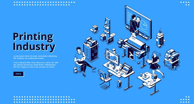 Banner de la industria de impresión. negocio de tipografía, servicio de poligrafía.