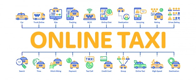 Banner de infografía mínima de taxi en línea